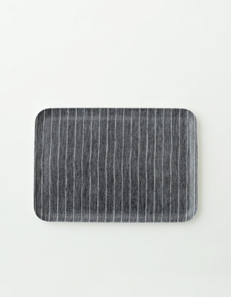 FOGLINENWORK LINEN COATING TRAY RECTANGLE M NAVY WHITE CHECK - Eclectic Cool