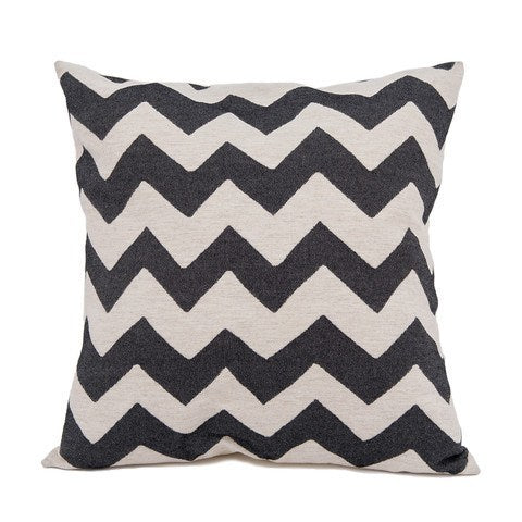 CHEVY CUSHION BLACK/LINEN 40cm - Eclectic Cool  - 1