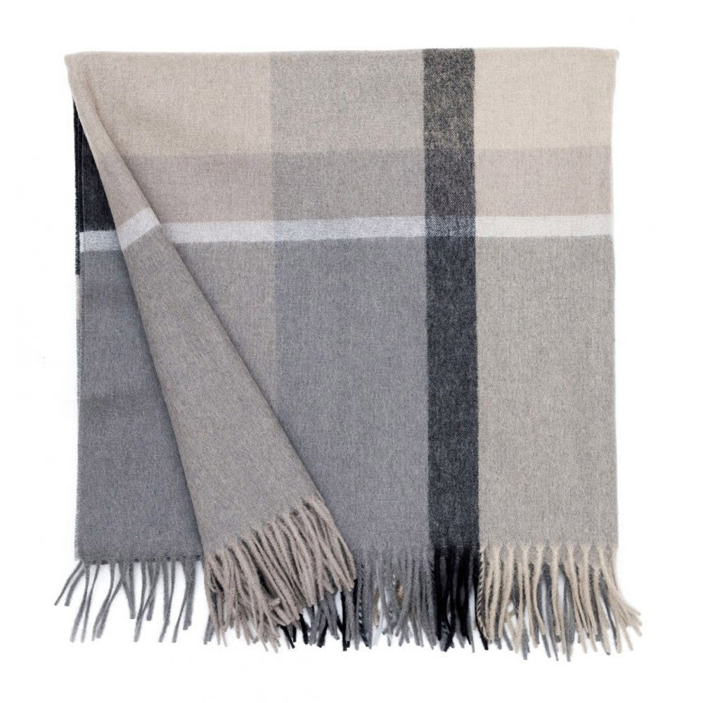 ELVANG MANHATTAN PLAID THROW- NATURAL