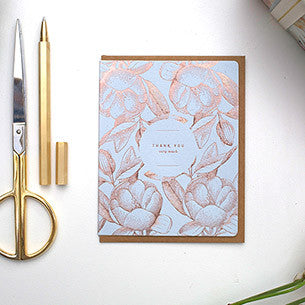 "BESPOKE LETTERPRESS GREETING CARD - BOTANICAL ""THANK YOU VERY MUCH"" (FOIL)"