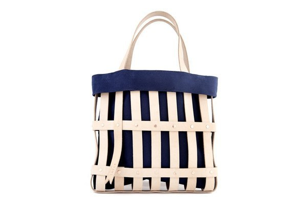 BYAMT - Leather Strap Tote w/ Canvas Liner for Leather Strap Tote - NAVY BLUE - Eclectic Cool  - 1