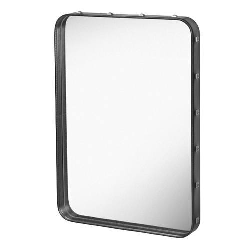GUBI ADNET RECTANGULAR MIRROR IN BLACK LEATHER 70 x 48 CM - Eclectic Cool  - 1