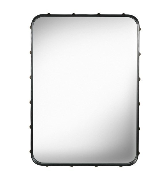 GUBI ADNET RECTANGULAR MIRROR IN BLACK LEATHER 70 x 48 CM - Eclectic Cool  - 2