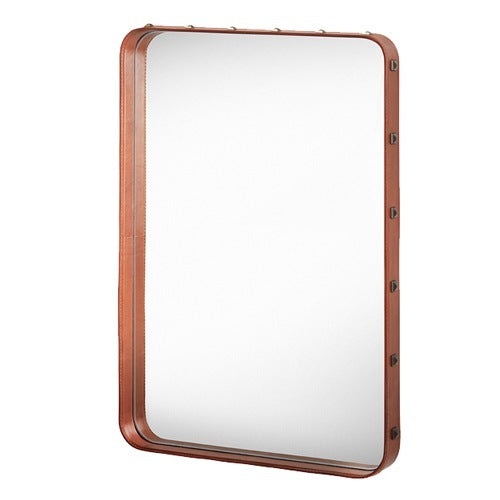 GUBI ADNET RECTANGULAR MIRROR IN COGNAC LEATHER 70 x 48 CM - Eclectic Cool  - 1
