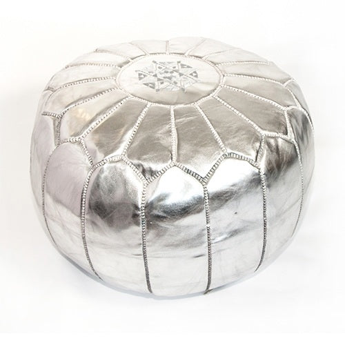 Morrocan Pouffe in Metallic Silver - Eclectic Cool