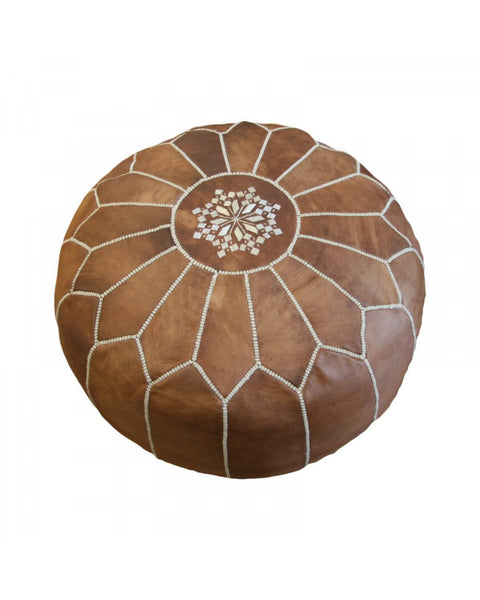 Morrocan Pouffe in Vintage Tan - Eclectic Cool