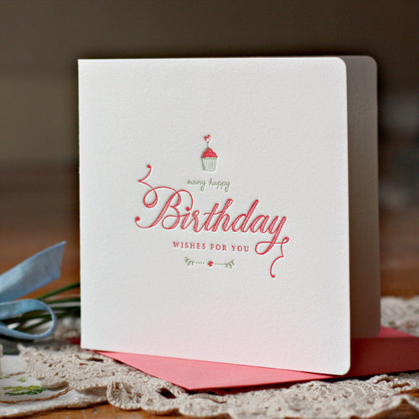 BESPOKE LETTERPRESS GREETING CARD - MANY HAPPY BIRTHDAY WISHES