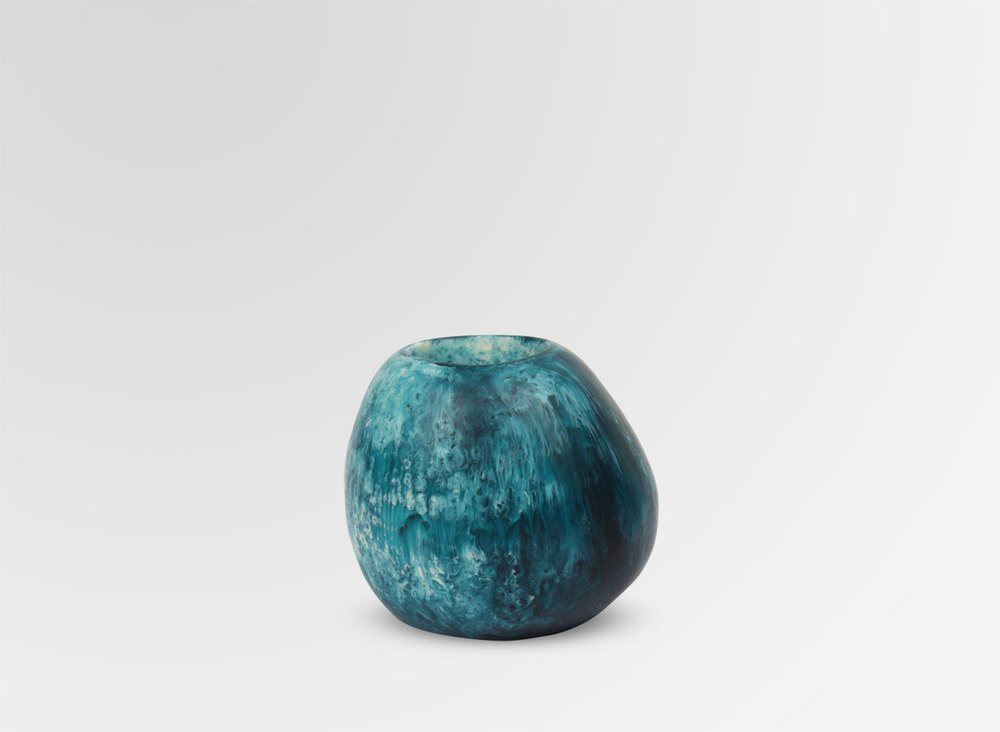 SMALL STONE VASE-MOODY BLUE - Eclectic Cool  - 1