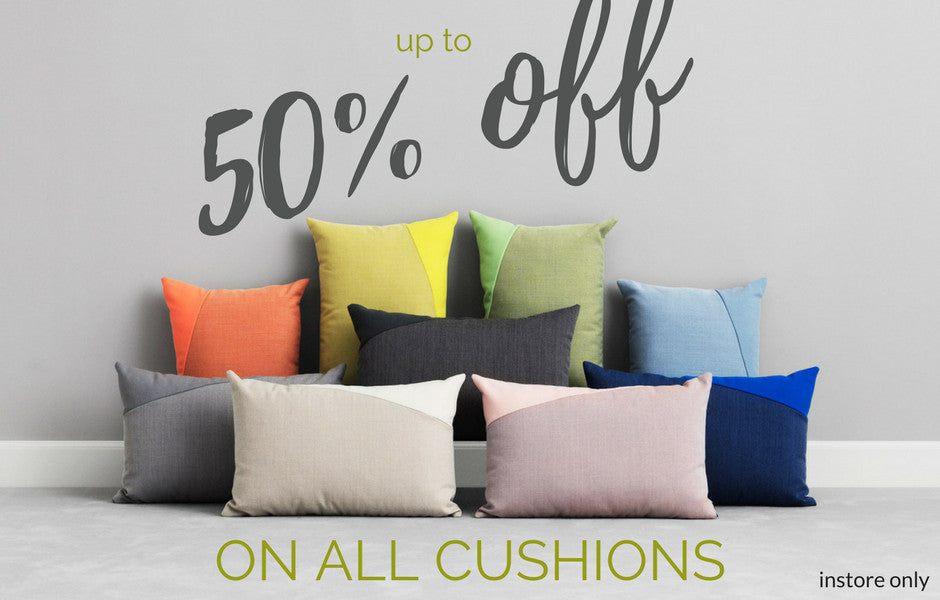 50% off cushions instore