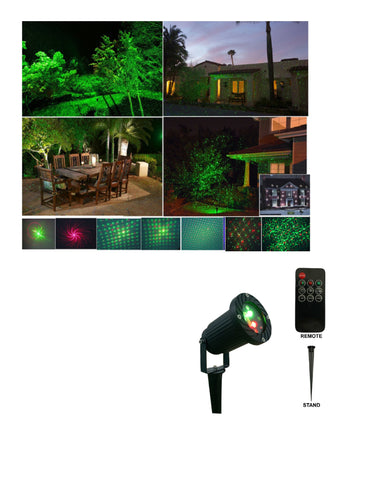 Remote Controllable12 Patterns in 1 Firefly Green and Red Outdoor Garden Light by LEDMall