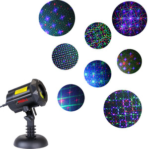 Motion 8 Patterns in 1 LEDMALL RGB Outdoor Garden Laser Christmas Lights with RF remote control and Security Lock - LedMall