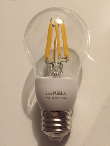 Dimmable LED Filament Bulb 6w, True Led,60w Equivalent, 600lumens, 3000k, A19
