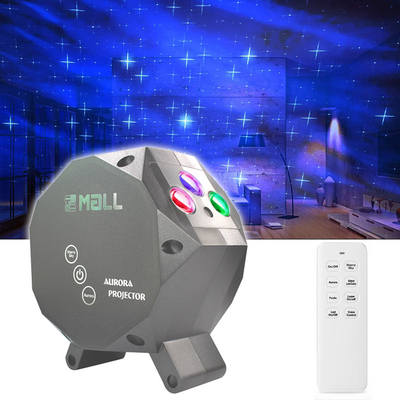 LEDMALL Star Aurora Laser Green and RGB LED Night Lights Decorative Projector with remote control -Silver