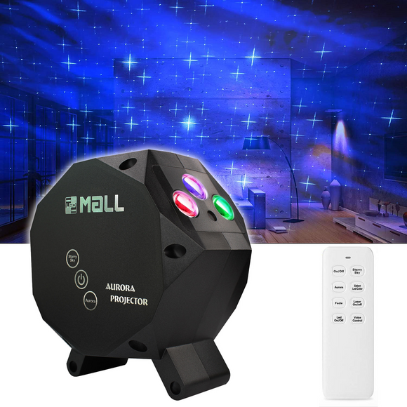 LEDMALL Star Aurora Laser Green and RGB LED Night Lights Decorative Projector with Bluetooth Speaker and Remote Control -Dark Gray