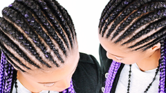feed in cornrow braids invisible method technique with purple ombre kanekalon braiding hair