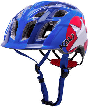 Red, white, and blue kid's mountain biking helmet