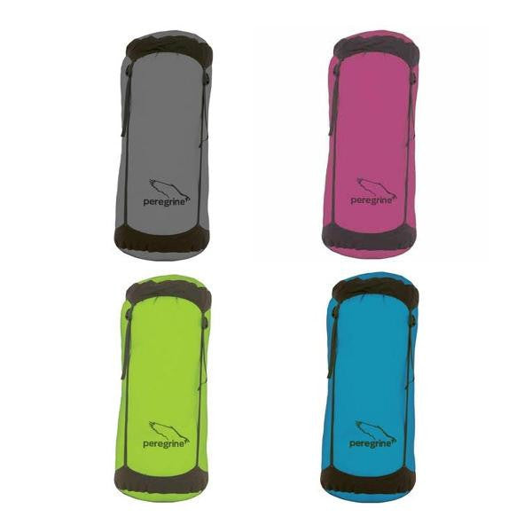 Grey, Pink, Green, and Blue compression sacks