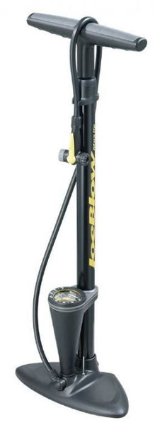 Black, floor pump with analog pressure gauge.