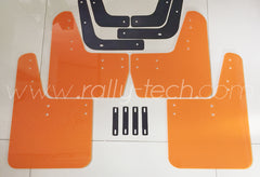 4MM POLYURETHANE MUDFLAP KIT - LANCER EVO 5 & 6 - ORANGE - NO LOGO