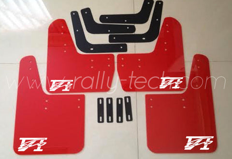 4MM POLYURETHANE MUDFLAP KIT - LANCER EVO 5 & 6 - RED - EVO 6 LOGO