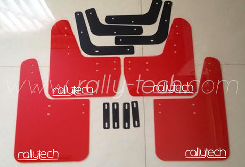 4MM POLYURETHANE MUDFLAP KIT - LANCER EVO 5 & 6 - RED - NEW LOGO WHITE