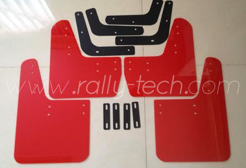 4MM POLYURETHANE MUDFLAP KIT - LANCER EVO 5 & 6 - RED - NO LOGO