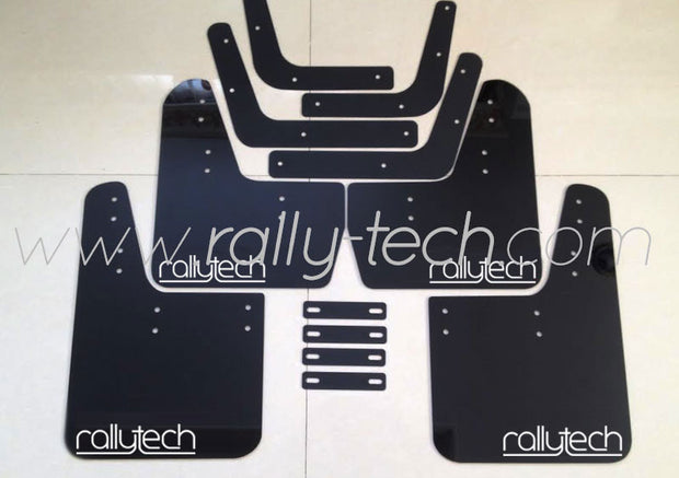 4MM POLYURETHANE MUDFLAP KIT - LANCER EVO 5 & 6 - BLACK - NEW LOGO WHITE