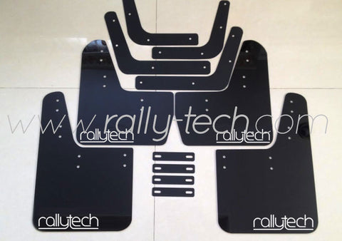 4MM POLYURETHANE MUDFLAP KIT - LANCER EVO 5 & 6 - BLACK - NEW LOGO GREY