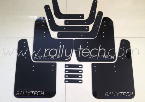 4MM POLYURETHANE MUDFLAP KIT - LANCER EVO 5 & 6 - BLACK - BLUE UNDERLINE