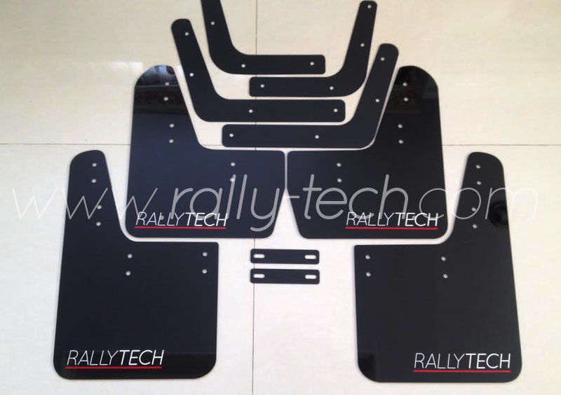 4MM POLYURETHANE MUDFLAP KIT - LANCER EVO 5 & 6 - BLACK - RED UNDERLINE