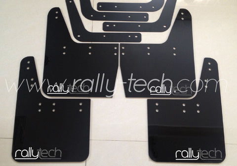 4MM POLYURETHANE MUDFLAP KIT - IMPREZA GC/GM/GF (93-01) - BLACK - NEW LOGO GREY