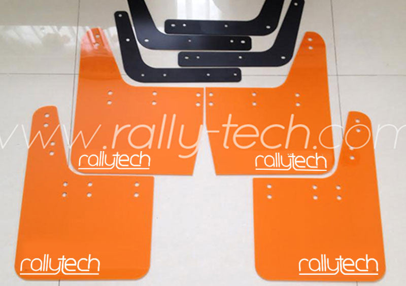 4MM POLYURETHANE MUDFLAP KIT - IMPREZA GC/GM/GF (93-01) - ORANGE - NEW LOGO WHITE