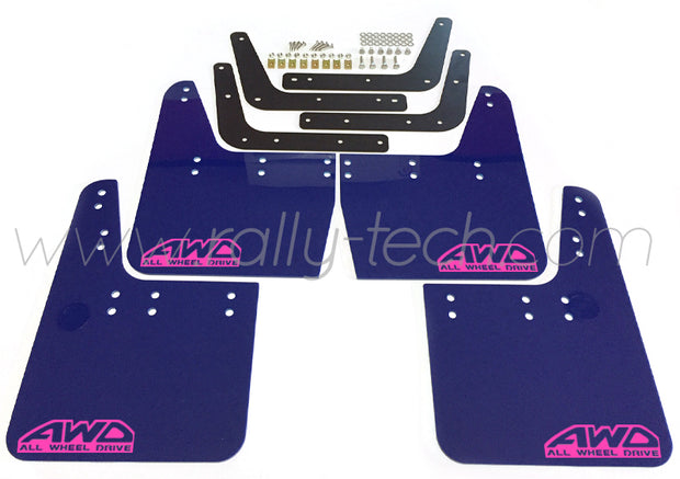 4MM POLYURETHANE MUDFLAP KIT - IMPREZA GC/GM/GF (93-01) - BLUE - AWD RETRO PINK