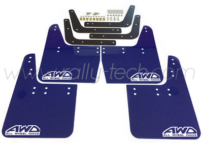 4MM POLYURETHANE MUDFLAP KIT - IMPREZA GC/GM/GF (93-01) - BLUE - AWD RETRO WHITE