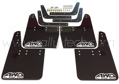 4MM POLYURETHANE MUDFLAP KIT - IMPREZA GC/GM/GF (93-01) - BLACK - AWD RETRO WHITE