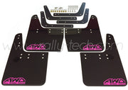 4MM POLYURETHANE MUDFLAP KIT - IMPREZA GC/GM/GF (93-01) - BLACK - AWD RETRO PINK