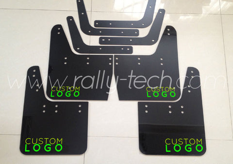 4MM POLYURETHANE MUDFLAP KIT - IMPREZA GC/GM/GF (93-01) - BLACK CUSTOM LOGO