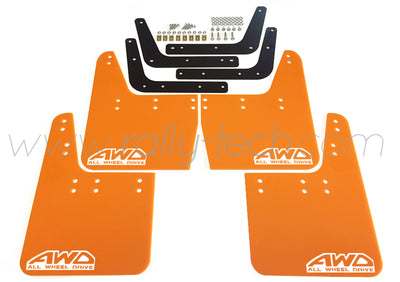 4MM POLYURETHANE MUDFLAP KIT - IMPREZA GC/GM/GF (93-01) - ORANGE - AWD RETRO WHITE