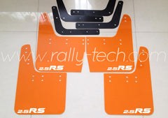 4MM POLYURETHANE MUDFLAP KIT - IMPREZA GC/GM/GF (93-01) - ORANGE - 2.5RS WHITE