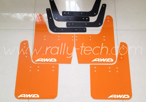 4MM POLYURETHANE MUDFLAP KIT - IMPREZA GC/GM/GF (93-01) - ORANGE - AWD