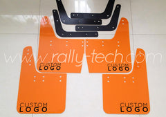 4MM POLYURETHANE MUDFLAP KIT - IMPREZA GC/GM/GF (93-01) - ORANGE CUSTOM LOGO