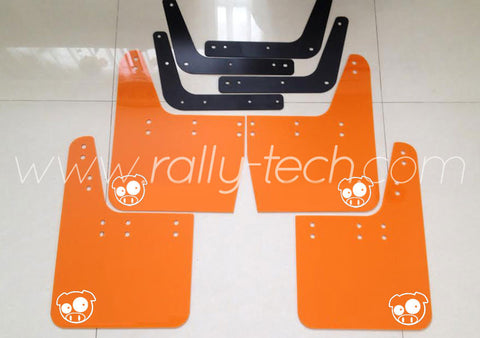 4MM POLYURETHANE MUDFLAP KIT - IMPREZA GC/GM/GF (93-01) - ORANGE - PIG LOGO WHITE