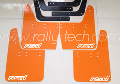 4MM POLYURETHANE MUDFLAP KIT - IMPREZA GC/GM/GF (93-01) - ORANGE - RSTI WHITE