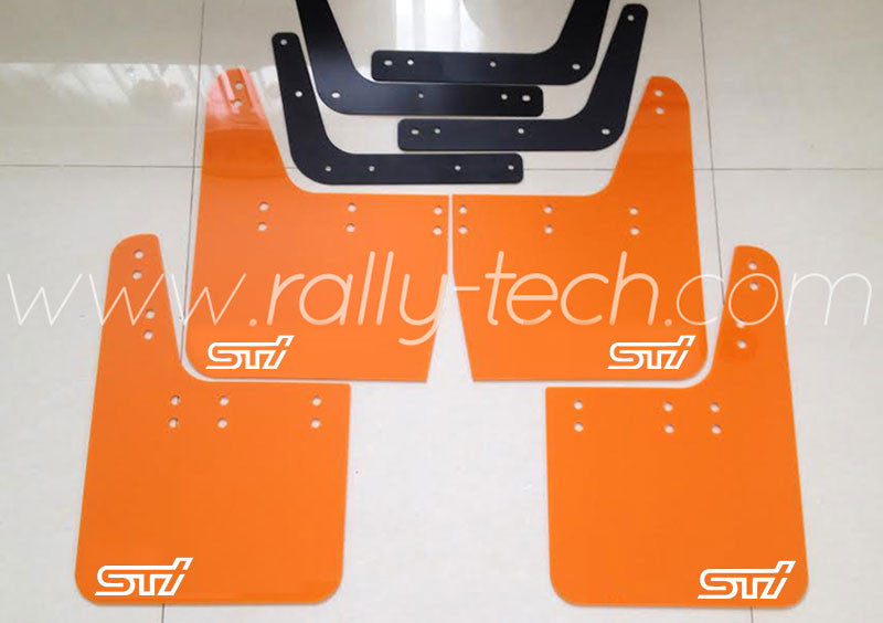 4MM POLYURETHANE MUDFLAP KIT - IMPREZA GC/GM/GF (93-01) - ORANGE - S T I STYLE WHITE