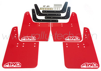 4MM POLYURETHANE MUDFLAP KIT - IMPREZA GC/GM/GF (93-01) - RED - AWD RETRO WHITE