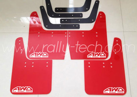4MM POLYURETHANE MUDFLAP KIT - IMPREZA GC/GM/GF (93-01) - RED - AWD RETRO