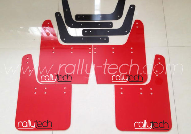 4MM POLYURETHANE MUDFLAP KIT - IMPREZA GC/GM/GF (93-01) - RED - NEW LOGO WHITE & BLACK