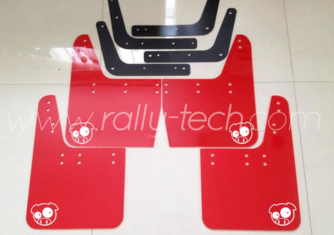 4MM POLYURETHANE MUDFLAP KIT - IMPREZA GC/GM/GF (93-01) - RED - PIG LOGO