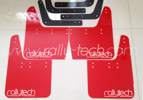 4MM POLYURETHANE MUDFLAP KIT - IMPREZA GC/GM/GF (93-01) - RED - NEW LOGO WHITE