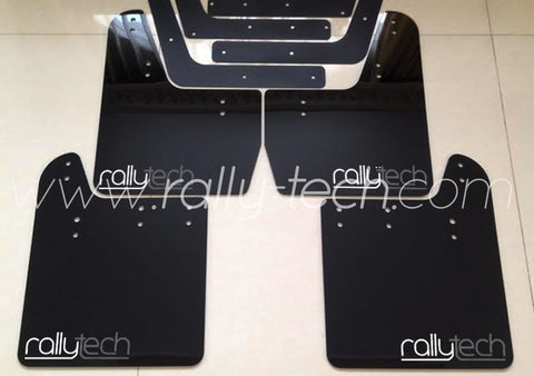 4MM POLYURETHANE MUDFLAP KIT - IMPREZA GD/GG (02-07) - BLACK - NEW LOGO GREY